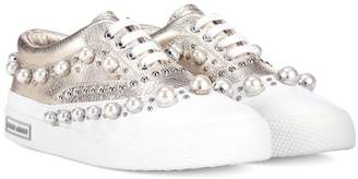 Miu Miu Embellished leather sneakers