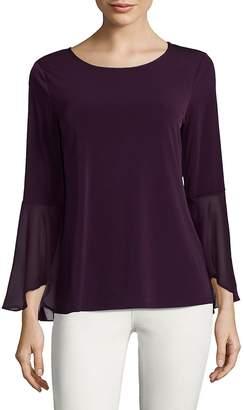 Calvin Klein Flare Sleeve Blouse - Aubergine, Size x-small