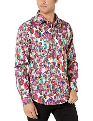 Robert Graham Men's Many Faces Long Sleeve Classic FIT Shirt, Multi
