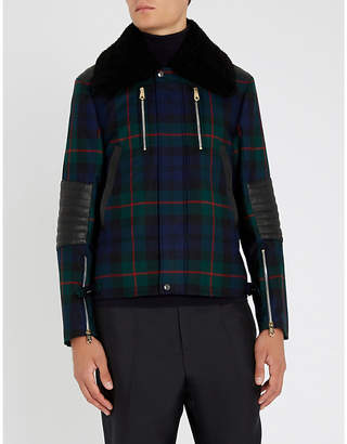 Paul Smith Check-patterned shearling and wool jacket