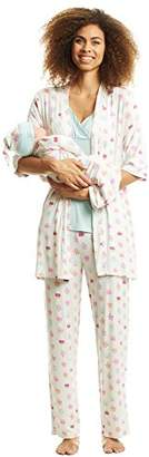 Everly Grey Women's Analise 5 Piece Maternity and Nursing PJ Pant Set with Matching Baby Gown and Hat