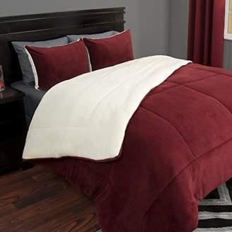 Lavish Home 3 Piece Sherpa/Fleece Comforter Set