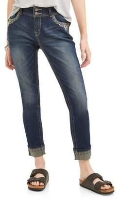 Wallflower Juniors' Curvy Embellished Pocket Ankle Jeans w/ Rolled hem