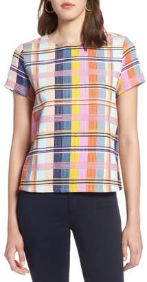 Halogen Plaid Tweed Top