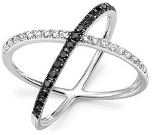Bloomingdale's White and Black Diamond Crossover Ring in 14K White Gold - 100% Exclusive