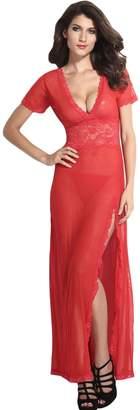 Amo & Co Sexy Women Sheer Long Lace Robe Plus Size Lingerie Gown Floral V Neck Mesh Underwear Nightwear Sleepwear