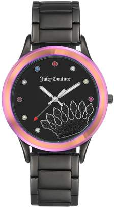 Juicy Couture Black IP-Plated Watch w/ RainbowBezel