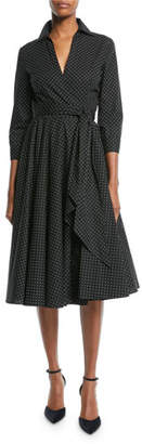 Michael Kors 3/4-Sleeve Pindot Stretch-Poplin Wrap Dress