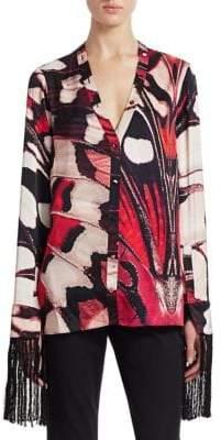 Alexander McQueen Fringe Cuff Silk Shirt