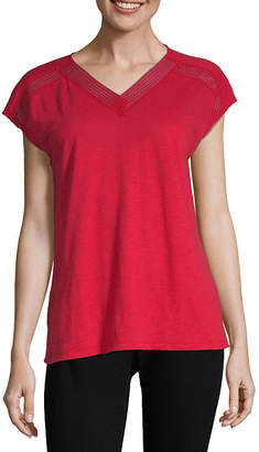 Liz Claiborne V-Neck Trim Tee - Tall