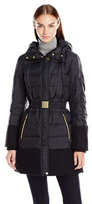 Jones New York Women's Mixed Media Belted Down with Hood and Faux Wool Insets $83.72 thestylecure.com