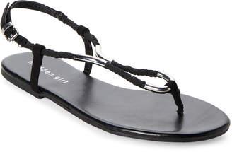 Madden-Girl Black Slice Braided Flat Sandals