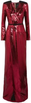 Roland Mouret Zodiac Belted Wrap-effect Lame Gown