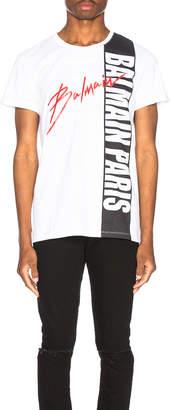 Balmain Printed T-Shirt in Blanc & Noir | FWRD