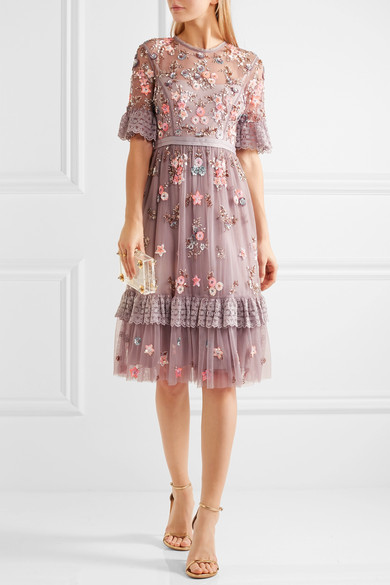Needle & Thread - Embellished Embroidered Tulle Dress - Lavender 5