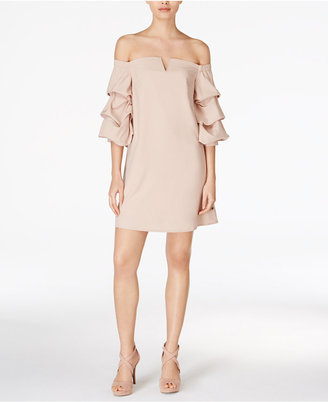 J.o.a. Ruffle-Sleeve Off-The-Shoulder Dress $90 thestylecure.com