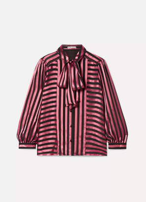 Alice + Olivia Alice Olivia - Willis Pussy-bow Striped Satin And Chiffon Blouse - Pink