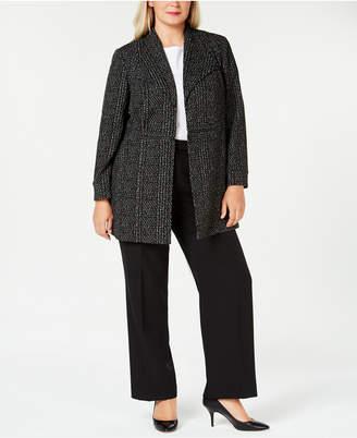 Kasper Plus Size Jacquard Flyaway Jacket