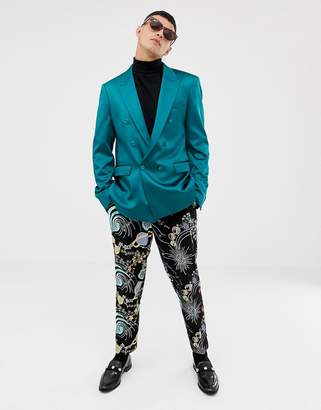 Asos DESIGN slim double breasted blazer in teal high shine