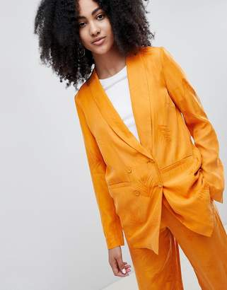 Gestuz Orange Blazer With Feather Pattern