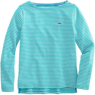 Vineyard Vines Girls Long-Sleeve Boatneck Sankaty Stripe Simple Tee