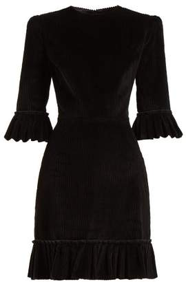 The Vampire's Wife - Festival Ruffle Trimmed Corduroy Mini Dress - Womens - Black