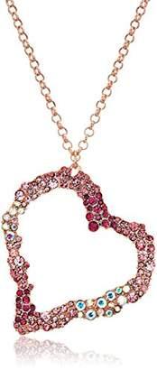 Betsey Johnson Women's Tonal Stone Heart Pendant Necklace