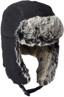 Dockers Brushed Nylon Trapper Cap with Faux Fur Lining