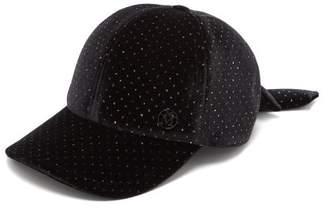 Maison Michel Sequin Embellished Velvet Baseball Cap - Womens - Black