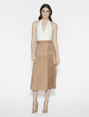 Halston Suede Wrap Midi Skirt