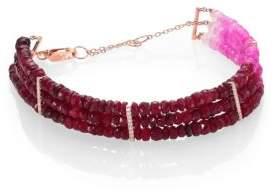Meira T Ruby, Diamond& 14K Yellow Gold Ombre Three-Row Beaded Bracelet