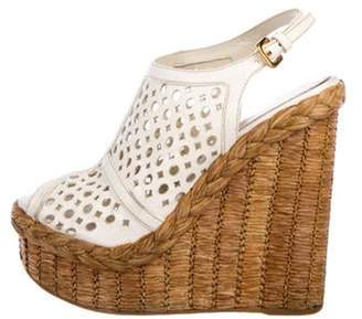 Prada Leather Perforated Wedges White Leather Perforated Wedges