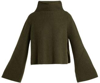 Stella McCartney Ribbed Knit High Neck Sweater - Womens - Khaki
