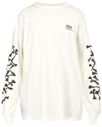 Amiri Bones Print Long Sleeved Cotton T Shirt - Mens - White
