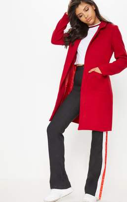 PrettyLittleThing Red Pocket Front Coat