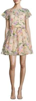 Shoshanna Floral Embroidered Dress