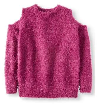 Derek Heart Cold Shoulder Eyelash Pullover Sweater (Big Girls)