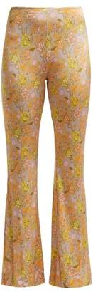 Acne Studios Floral Print Kick Flare Trousers - Womens - Green Multi