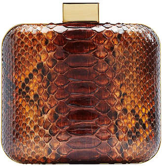 "Malini Murjani Python-Leather Clutch with Detachable Chain ""Tori"""