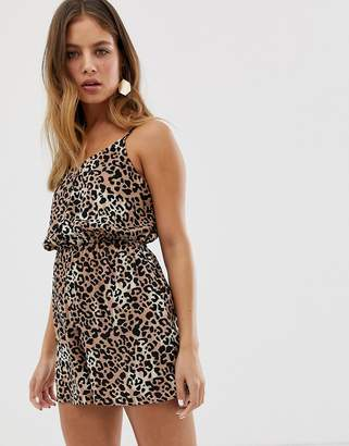 New Look romper with button front in animal print