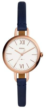 Fossil Annette Leather Strap Watch, 36mm