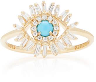 Suzanne Kalan 18K Gold Diamond Turquoise Ring