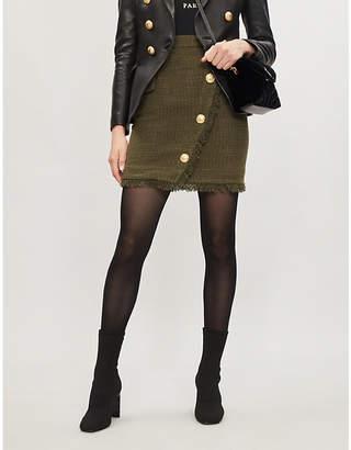 Balmain Fringe-trimmed tweed mini skirt