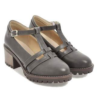 ced7e023284 Elsa Wilcox Women s Oxford Dress Shoes Round Toe Platform Shoes T-Strap  Chunky Heel Mary