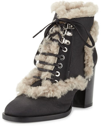 Laurence Dacade Manushka Shearling Fur Ankle Boot, Black/Gray $1,125 thestylecure.com