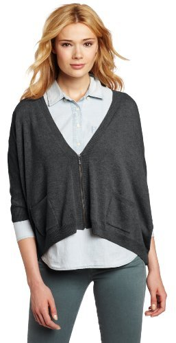 Design History Women's 100% Cashmere Asym Zip Cardigan Sweater