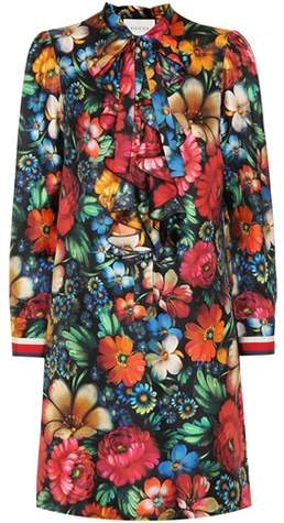 Gucci Floral-printed silk dress