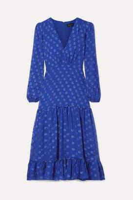 Saloni Devin Ruffle-trimmed Tiered Silk-satin Jacquard Midi Dress - Cobalt blue