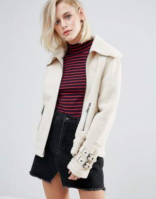 Pepe Jeans Ginna Exposed Faux Shearling Biker Jacket