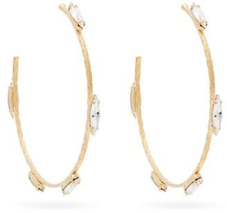 Saint Laurent Crystal Embellished Hoop Earrings - Womens - Gold